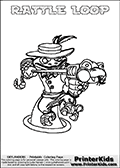 Printable colouring sheet with the Skylanders Swap Force character RATTLE LOOP. One of the many different printable coloring pages here at www.PrinterKids.com that have a colorable Skylanders Swap Force figure with one of more parts from the adventure snake themed Skylander RATTLE SHAKE. This  coloring page show the Skylanders Swap Force figure combination RATTLE LOOP, that is drawn with the upper part of the RATTLE SHAKE Skylander and the lower part of the HOOT LOOP Skylander. In this coloring page, the RATTLE LOOP skylander can be colored in full - as one complete character (a free online coloring page version is available as well). Print and color this Skylanders Swap Force RATTLE LOOP sheet that is drawn by Loke Hansen (http://www.LokeHansen.com) based on the original artwork of the Skylanders characters from the Skylanders Swap Force website.