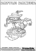 Printable colouring sheet with the Skylanders Swap Force character RATTLE RANGER. One of the many different printable coloring pages here at www.PrinterKids.com that have a colorable Skylanders Swap Force figure with one of more parts from the adventure snake themed Skylander RATTLE SHAKE. This  coloring page show the Skylanders Swap Force figure combination RATTLE RANGER, that is drawn with the upper part of the RATTLE SHAKE Skylander and the lower part of the FREE RANGER Skylander. In this coloring page, the RATTLE RANGER skylander can be colored in full - as one complete character (a free online coloring page version is available as well). Print and color this Skylanders Swap Force RATTLE RANGER sheet that is drawn by Loke Hansen (http://www.LokeHansen.com) based on the original artwork of the Skylanders characters from the Skylanders Swap Force website.