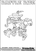 Printable or online colorable Skylanders Swap Force coloring page. This colouring sheet show the combination skylander RATTLE RISE that has to be made by combining parts from other Skylanders Swap Force characters! RATTLE RISE is drawn with the upper part of the RATTLE SHAKE Skylander and the lower part of the SPY RISE Skylander. In this coloring page, the RATTLE RISE skylander can be colored in full - as a complete skylander. The colouring page is drawn with a super thin line and has a colorable text with the RATTLE RISE letters as well. Print and color this Skylanders Swap Force RATTLE RISE coloring book page that is drawn and made available by Loke Hansen (http://www.LokeHansen.com) based on the original artwork of the Skylanders characters from the Skylanders Swap Force website. This coloring page variant has the highest amount of detail areas due to the thin drawing line used. Be sure to check the two other variants of this coloring page for more stroke (the line used to draw the RATTLE RISE with) options.