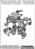 Printable and online colorable page for Skylanders Swap Force fans with the combination figure called RATTLE RISE. RATTLE RISE must be made by combining parts from other Skylanders Swap Force characters! RATTLE RISE is drawn with the upper part of the RATTLE SHAKE Skylander and the lower part of the SPY RISE Skylander, the part used from each Skylander is used in the new skylanders name. In this coloring page, the RATTLE RISE skylander can be colored completely. The colouring page is drawn with a very thick line making it ideal for the youngest Skylanders Swap Force fans. The downside of the thick line is that some detail areas become unavailable for coloring. The coloring page has a colorable text with the RATTLE RISE letters as well. Print and color this Skylanders Swap Force RATTLE RISE coloring book page that is drawn and made available by Loke Hansen (http://www.LokeHansen.com) based on the original artwork of the Skylanders characters from the Skylanders Swap Force website. Be sure to check the two other variants of this coloring page for more line width options.
