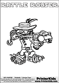 Printable colouring sheet with the Skylanders Swap Force character RATTLE ROUSER. One of the many different printable coloring pages here at www.PrinterKids.com that have a colorable Skylanders Swap Force figure with one of more parts from the adventure snake themed Skylander RATTLE SHAKE. This  coloring page show the Skylanders Swap Force figure combination RATTLE ROUSER, that is drawn with the upper part of the RATTLE SHAKE Skylander and the lower part of the RUBBLE ROUSER Skylander. In this coloring page, the RATTLE ROUSER skylander can be colored in full - as one complete character (a free online coloring page version is available as well). Print and color this Skylanders Swap Force RATTLE ROUSER sheet that is drawn by Loke Hansen (http://www.LokeHansen.com) based on the original artwork of the Skylanders characters from the Skylanders Swap Force website.
