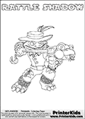 Printable or online colorable Skylanders Swap Force coloring page. This colouring sheet show the combination skylander RATTLE SHADOW that has to be made by combining parts from other Skylanders Swap Force characters! RATTLE SHADOW is drawn with the upper part of the RATTLE SHAKE Skylander and the lower part of the TRAP SHADOW Skylander. In this coloring page, the RATTLE SHADOW skylander can be colored in full - as a complete skylander. The colouring page is drawn with a super thin line and has a colorable text with the RATTLE SHADOW letters as well. Print and color this Skylanders Swap Force RATTLE SHADOW coloring book page that is drawn and made available by Loke Hansen (http://www.LokeHansen.com) based on the original artwork of the Skylanders characters from the Skylanders Swap Force website. This coloring page variant has the highest amount of detail areas due to the thin drawing line used. Be sure to check the two other variants of this coloring page for more stroke (the line used to draw the RATTLE SHADOW with) options.