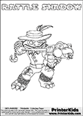 Skylanders Swap Force coloring page with RATTLE SHADOW. The RATTLE SHADOW Skylander figure cannot be bought as it is, it must be made by combining parts from RATTLE SHAKE AND TRAP SHADOW! RATTLE SHADOW is drawn with the upper part of the RATTLE SHAKE Skylander and the lower part of the TRAP SHADOW Skylander. In this coloring page, the RATTLE SHADOW skylander can be colored completely. The colouring page is drawn with a thin shaded line and has a colorable text with the RATTLE SHADOW letters as well. Print and color this Skylanders Swap Force RATTLE SHADOW coloring book page that is drawn and made available by Loke Hansen (http://www.LokeHansen.com) based on the original artwork of the Skylanders characters from the Skylanders Swap Force website. This line variant is the -editors choice- where detail areas and line appearance are in best balance. Be sure to check the two other variants of this coloring page for more stroke (the line used to draw the RATTLE SHADOW with) options.