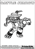 Printable and online colorable page for Skylanders Swap Force fans with the combination figure called RATTLE SHADOW. RATTLE SHADOW must be made by combining parts from other Skylanders Swap Force characters! RATTLE SHADOW is drawn with the upper part of the RATTLE SHAKE Skylander and the lower part of the TRAP SHADOW Skylander, the part used from each Skylander is used in the new skylanders name. In this coloring page, the RATTLE SHADOW skylander can be colored completely. The colouring page is drawn with a very thick line making it ideal for the youngest Skylanders Swap Force fans. The downside of the thick line is that some detail areas become unavailable for coloring. The coloring page has a colorable text with the RATTLE SHADOW letters as well. Print and color this Skylanders Swap Force RATTLE SHADOW coloring book page that is drawn and made available by Loke Hansen (http://www.LokeHansen.com) based on the original artwork of the Skylanders characters from the Skylanders Swap Force website. Be sure to check the two other variants of this coloring page for more line width options.