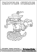 Coloring page with RATTLE SHAKE from Skylanders Swap Force. Skylanders Swap Force is a unique multi-platform game where characters can be combined into even more characters. The Skylanders character in this coloring print - RATTLE SHAKE is a standard character and has no parts from other Skylanders characters. It can however replace either the upper or lower body with that of another Skylanders character. This coloring page for printing show the Skylander in full. Print and color this Skylanders Swap Force RATTLE SHAKE page that is drawn by Loke Hansen (http://www.LokeHansen.com) based on the original artwork of the Skylanders characters.