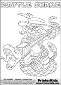 Printable or online colorable Skylanders Swap Force coloring page with the original swappable character RATTLE SHAKE. RATTLE SHAKE is a Skylander that can be bought and combined with other swappable Skylanders - the two parts RATTLE and SHAKE are in the same figure box! The colouring page is drawn with a super thin line and has a colorable text with the RATTLE SHAKE letters. Print and color this Skylanders Swap Force RATTLE SHAKE coloring print page that is drawn and made available by Loke Hansen (http://www.LokeHansen.com) based on the original artwork of the Skylanders characters from the Skylanders Swap Force website. This coloring page variant has the highest amount of detail areas due to the thin drawing line used. Be sure to check the two other variants of this coloring page for more stroke (the line used to draw the RATTLE SHAKE with) options.