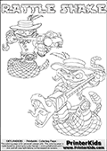 Printable or online colorable Skylanders Swap Force coloring page with two colorable variants of the original swappable character RATTLE SHAKE. RATTLE SHAKE is a Skylander that can be bought and combined with other swappable Skylanders - the two parts RATTLE and SHAKE are in the same figure box! The colouring page is drawn with a super thin line and has a colorable text with the RATTLE SHAKE letters. Print and color this Skylanders Swap Force RATTLE SHAKE coloring print page that is drawn and made available by Loke Hansen (http://www.LokeHansen.com) based on the original artwork of the Skylanders characters from the Skylanders Swap Force website. This coloring page variant has the highest amount of detail areas due to the thin drawing line used. Be sure to check the two other variants of this coloring page for more stroke (the line used to draw the RATTLE SHAKE with) options.