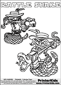 Printable or online colorable Skylanders Swap Force coloring page with two colorable variants of  the original swappable character RATTLE SHAKE. RATTLE SHAKE is a Skylander that can be bought and combined with other swappable Skylanders - the two parts RATTLE and SHAKE are in the same figure box! The colouring page is drawn with a thick line. This make the coloring page ideal for the youngest fans. The printable coloring page also have the skylander name as colorable text. Print and color this Skylanders Swap Force RATTLE SHAKE coloring print page that is drawn and made available by Loke Hansen (http://www.LokeHansen.com) based on the original artwork of the Skylanders characters from the Skylanders Swap Force website.