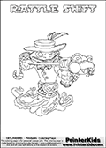 Printable colouring sheet with the Skylanders Swap Force character RATTLE SHIFT. One of the many different printable coloring pages here at www.PrinterKids.com that have a colorable Skylanders Swap Force figure with one of more parts from the adventure snake themed Skylander RATTLE SHAKE. This  coloring page show the Skylanders Swap Force figure combination RATTLE SHIFT, that is drawn with the upper part of the RATTLE SHAKE Skylander and the lower part of the NIGHT SHIFT Skylander. In this coloring page, the RATTLE SHIFT skylander can be colored in full - as one complete character (a free online coloring page version is available as well). Print and color this Skylanders Swap Force RATTLE SHIFT sheet that is drawn by Loke Hansen (http://www.LokeHansen.com) based on the original artwork of the Skylanders characters from the Skylanders Swap Force website.