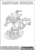 Printable colouring sheet with the Skylanders Swap Force character RATTLE STONE. One of the many different printable coloring pages here at www.PrinterKids.com that have a colorable Skylanders Swap Force figure with one of more parts from the adventure snake themed Skylander RATTLE SHAKE. This  coloring page show the Skylanders Swap Force figure combination RATTLE STONE, that is drawn with the upper part of the RATTLE SHAKE Skylander and the lower part of the DOOM STONE Skylander. In this coloring page, the RATTLE STONE skylander can be colored in full - as one complete character (a free online coloring page version is available as well). Print and color this Skylanders Swap Force RATTLE STONE sheet that is drawn by Loke Hansen (http://www.LokeHansen.com) based on the original artwork of the Skylanders characters from the Skylanders Swap Force website.