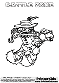 Printable colouring sheet with the Skylanders Swap Force character RATTLE ZONE. One of the many different printable coloring pages here at www.PrinterKids.com that have a colorable Skylanders Swap Force figure with one of more parts from the adventure snake themed Skylander RATTLE SHAKE. This  coloring page show the Skylanders Swap Force figure combination RATTLE ZONE, that is drawn with the upper part of the RATTLE SHAKE Skylander and the lower part of the BLAST ZONE Skylander. In this coloring page, the RATTLE ZONE skylander can be colored in full - as one complete character (a free online coloring page version is available as well). Print and color this Skylanders Swap Force RATTLE ZONE sheet that is drawn by Loke Hansen (http://www.LokeHansen.com) based on the original artwork of the Skylanders characters from the Skylanders Swap Force website.