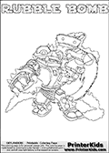 Printable or online colorable Skylanders Swap Force coloring page. This colouring sheet show the combination skylander RUBBLE BOMB that has to be made by combining parts from other Skylanders Swap Force characters! RUBBLE BOMB is drawn with the upper part of the RUBBLE ROUSER Skylander and the lower part of the STINK BOMB Skylander. In this coloring page, the RUBBLE BOMB skylander can be colored in full - as a complete skylander. The colouring page is drawn with a super thin line and has a colorable text with the RUBBLE BOMB letters as well. Print and color this Skylanders Swap Force RUBBLE BOMB coloring book page that is drawn and made available by Loke Hansen (http://www.LokeHansen.com) based on the original artwork of the Skylanders characters from the Skylanders Swap Force website. This coloring page variant has the highest amount of detail areas due to the thin drawing line used. Be sure to check the two other variants of this coloring page for more stroke (the line used to draw the RUBBLE BOMB with) options.