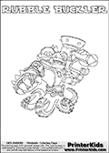 Printable or online colorable Skylanders Swap Force coloring page. This colouring sheet show the combination skylander RUBBLE BUCKLER that has to be made by combining parts from other Skylanders Swap Force characters! RUBBLE BUCKLER is drawn with the upper part of the RUBBLE ROUSER Skylander and the lower part of the WASH BUCKLER Skylander. In this coloring page, the RUBBLE BUCKLER skylander can be colored in full - as a complete skylander. The colouring page is drawn with a super thin line and has a colorable text with the RUBBLE BUCKLER letters as well. Print and color this Skylanders Swap Force RUBBLE BUCKLER coloring book page that is drawn and made available by Loke Hansen (http://www.LokeHansen.com) based on the original artwork of the Skylanders characters from the Skylanders Swap Force website. This coloring page variant has the highest amount of detail areas due to the thin drawing line used. Be sure to check the two other variants of this coloring page for more stroke (the line used to draw the RUBBLE BUCKLER with) options.