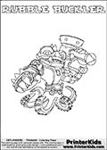 Skylanders Swap Force coloring page with RUBBLE BUCKLER. The RUBBLE BUCKLER Skylander figure cannot be bought as it is, it must be made by combining parts from RUBBLE ROUSER AND WASH BUCKLER! RUBBLE BUCKLER is drawn with the upper part of the RUBBLE ROUSER Skylander and the lower part of the WASH BUCKLER Skylander. In this coloring page, the RUBBLE BUCKLER skylander can be colored completely. The colouring page is drawn with a thin shaded line and has a colorable text with the RUBBLE BUCKLER letters as well. Print and color this Skylanders Swap Force RUBBLE BUCKLER coloring book page that is drawn and made available by Loke Hansen (http://www.LokeHansen.com) based on the original artwork of the Skylanders characters from the Skylanders Swap Force website. This line variant is the -editors choice- where detail areas and line appearance are in best balance. Be sure to check the two other variants of this coloring page for more stroke (the line used to draw the RUBBLE BUCKLER with) options.