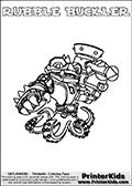 Printable and online colorable page for Skylanders Swap Force fans with the combination figure called RUBBLE BUCKLER. RUBBLE BUCKLER must be made by combining parts from other Skylanders Swap Force characters! RUBBLE BUCKLER is drawn with the upper part of the RUBBLE ROUSER Skylander and the lower part of the WASH BUCKLER Skylander, the part used from each Skylander is used in the new skylanders name. In this coloring page, the RUBBLE BUCKLER skylander can be colored completely. The colouring page is drawn with a very thick line making it ideal for the youngest Skylanders Swap Force fans. The downside of the thick line is that some detail areas become unavailable for coloring. The coloring page has a colorable text with the RUBBLE BUCKLER letters as well. Print and color this Skylanders Swap Force RUBBLE BUCKLER coloring book page that is drawn and made available by Loke Hansen (http://www.LokeHansen.com) based on the original artwork of the Skylanders characters from the Skylanders Swap Force website. Be sure to check the two other variants of this coloring page for more line width options.