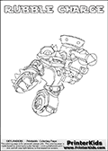 Printable colouring page with RUBBLE CHARGE from Skylanders Swap Force. This  coloring page show the Skylanders Swap Force figure combination RUBBLE CHARGE, that is drawn with the upper part of the RUBBLE ROUSER Skylander and the lower part of the MAGNA CHARGE Skylander. In this coloring page, the RUBBLE CHARGE skylander can be colored in full - as one complete character. The printable coloring sheet also include a colorable text name. Print and color this Skylanders Swap Force RUBBLE CHARGE sheet that is drawn by Loke Hansen (http://www.LokeHansen.com) based on the original artwork of the Skylanders characters from the Skylanders Swap Force website.