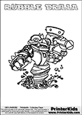 Printable colouring page with RUBBLE DRILLA from Skylanders Swap Force. This  coloring page show the Skylanders Swap Force figure combination RUBBLE DRILLA, that is drawn with the upper part of the RUBBLE ROUSER Skylander and the lower part of the GRILLA DRILLA Skylander. In this coloring page, the RUBBLE DRILLA skylander can be colored in full - as one complete character. The printable coloring sheet also include a colorable text name. Print and color this Skylanders Swap Force RUBBLE DRILLA sheet that is drawn by Loke Hansen (http://www.LokeHansen.com) based on the original artwork of the Skylanders characters from the Skylanders Swap Force website.