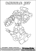 Printable colouring page with RUBBLE JET from Skylanders Swap Force. This  coloring page show the Skylanders Swap Force figure combination RUBBLE JET, that is drawn with the upper part of the RUBBLE ROUSER Skylander and the lower part of the BOOM JET Skylander. In this coloring page, the RUBBLE JET skylander can be colored in full - as one complete character. The printable coloring sheet also include a colorable text name. Print and color this Skylanders Swap Force RUBBLE JET sheet that is drawn by Loke Hansen (http://www.LokeHansen.com) based on the original artwork of the Skylanders characters from the Skylanders Swap Force website.
