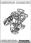 Printable colouring page with RUBBLE KRAKEN from Skylanders Swap Force. This  coloring page show the Skylanders Swap Force figure combination RUBBLE KRAKEN, that is drawn with the upper part of the RUBBLE ROUSER Skylander and the lower part of the FIRE KRAKEN Skylander. In this coloring page, the RUBBLE KRAKEN skylander can be colored in full - as one complete character. The printable coloring sheet also include a colorable text name. Print and color this Skylanders Swap Force RUBBLE KRAKEN sheet that is drawn by Loke Hansen (http://www.LokeHansen.com) based on the original artwork of the Skylanders characters from the Skylanders Swap Force website.