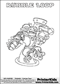 Printable colouring page with RUBBLE LOOP from Skylanders Swap Force. This  coloring page show the Skylanders Swap Force figure combination RUBBLE LOOP, that is drawn with the upper part of the RUBBLE ROUSER Skylander and the lower part of the HOOT LOOP Skylander. In this coloring page, the RUBBLE LOOP skylander can be colored in full - as one complete character. The printable coloring sheet also include a colorable text name. Print and color this Skylanders Swap Force RUBBLE LOOP sheet that is drawn by Loke Hansen (http://www.LokeHansen.com) based on the original artwork of the Skylanders characters from the Skylanders Swap Force website.