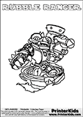 Printable colouring page with RUBBLE RANGER from Skylanders Swap Force. This  coloring page show the Skylanders Swap Force figure combination RUBBLE RANGER, that is drawn with the upper part of the RUBBLE ROUSER Skylander and the lower part of the FREE RANGER Skylander. In this coloring page, the RUBBLE RANGER skylander can be colored in full - as one complete character. The printable coloring sheet also include a colorable text name. Print and color this Skylanders Swap Force RUBBLE RANGER sheet that is drawn by Loke Hansen (http://www.LokeHansen.com) based on the original artwork of the Skylanders characters from the Skylanders Swap Force website.