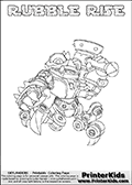 Printable or online colorable Skylanders Swap Force coloring page. This colouring sheet show the combination skylander RUBBLE RISE that has to be made by combining parts from other Skylanders Swap Force characters! RUBBLE RISE is drawn with the upper part of the RUBBLE ROUSER Skylander and the lower part of the SPY RISE Skylander. In this coloring page, the RUBBLE RISE skylander can be colored in full - as a complete skylander. The colouring page is drawn with a super thin line and has a colorable text with the RUBBLE RISE letters as well. Print and color this Skylanders Swap Force RUBBLE RISE coloring book page that is drawn and made available by Loke Hansen (http://www.LokeHansen.com) based on the original artwork of the Skylanders characters from the Skylanders Swap Force website. This coloring page variant has the highest amount of detail areas due to the thin drawing line used. Be sure to check the two other variants of this coloring page for more stroke (the line used to draw the RUBBLE RISE with) options.