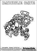 Printable and online colorable page for Skylanders Swap Force fans with the combination figure called RUBBLE RISE. RUBBLE RISE must be made by combining parts from other Skylanders Swap Force characters! RUBBLE RISE is drawn with the upper part of the RUBBLE ROUSER Skylander and the lower part of the SPY RISE Skylander, the part used from each Skylander is used in the new skylanders name. In this coloring page, the RUBBLE RISE skylander can be colored completely. The colouring page is drawn with a very thick line making it ideal for the youngest Skylanders Swap Force fans. The downside of the thick line is that some detail areas become unavailable for coloring. The coloring page has a colorable text with the RUBBLE RISE letters as well. Print and color this Skylanders Swap Force RUBBLE RISE coloring book page that is drawn and made available by Loke Hansen (http://www.LokeHansen.com) based on the original artwork of the Skylanders characters from the Skylanders Swap Force website. Be sure to check the two other variants of this coloring page for more line width options.