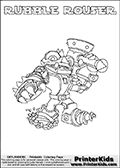 Coloring page with RUBBLE ROUSER from Skylanders Swap Force. Skylanders Swap Force is a unique multi-platform game where characters can be combined into even more characters. The Skylanders character in this coloring print - RUBBLE ROUSER is a standard character and has no parts from other Skylanders characters. It can however replace either the upper or lower body with that of another Skylanders character. This coloring page for printing show the Skylander in full. Print and color this Skylanders Swap Force RUBBLE ROUSER page that is drawn by Loke Hansen (http://www.LokeHansen.com) based on the original artwork of the Skylanders characters.