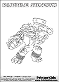 Printable or online colorable Skylanders Swap Force coloring page. This colouring sheet show the combination skylander RUBBLE SHADOW that has to be made by combining parts from other Skylanders Swap Force characters! RUBBLE SHADOW is drawn with the upper part of the RUBBLE ROUSER Skylander and the lower part of the TRAP SHADOW Skylander. In this coloring page, the RUBBLE SHADOW skylander can be colored in full - as a complete skylander. The colouring page is drawn with a super thin line and has a colorable text with the RUBBLE SHADOW letters as well. Print and color this Skylanders Swap Force RUBBLE SHADOW coloring book page that is drawn and made available by Loke Hansen (http://www.LokeHansen.com) based on the original artwork of the Skylanders characters from the Skylanders Swap Force website. This coloring page variant has the highest amount of detail areas due to the thin drawing line used. Be sure to check the two other variants of this coloring page for more stroke (the line used to draw the RUBBLE SHADOW with) options.