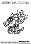 Printable colouring page with RUBBLE SHAKE from Skylanders Swap Force. This  coloring page show the Skylanders Swap Force figure combination RUBBLE SHAKE, that is drawn with the upper part of the RUBBLE ROUSER Skylander and the lower part of the RATTLE SHAKE Skylander. In this coloring page, the RUBBLE SHAKE skylander can be colored in full - as one complete character. The printable coloring sheet also include a colorable text name. Print and color this Skylanders Swap Force RUBBLE SHAKE sheet that is drawn by Loke Hansen (http://www.LokeHansen.com) based on the original artwork of the Skylanders characters from the Skylanders Swap Force website.