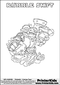 Printable colouring page with RUBBLE SHIFT from Skylanders Swap Force. This  coloring page show the Skylanders Swap Force figure combination RUBBLE SHIFT, that is drawn with the upper part of the RUBBLE ROUSER Skylander and the lower part of the NIGHT SHIFT Skylander. In this coloring page, the RUBBLE SHIFT skylander can be colored in full - as one complete character. The printable coloring sheet also include a colorable text name. Print and color this Skylanders Swap Force RUBBLE SHIFT sheet that is drawn by Loke Hansen (http://www.LokeHansen.com) based on the original artwork of the Skylanders characters from the Skylanders Swap Force website.