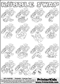 Printable or online colorable Skylanders Swap Force coloring page with all 16 combinations of Skylanders made with the RUBBLE upper part. The skylanders coloring figures are relatively small - but there are 16 different on this coloring page. Print and color this Skylanders Swap Force RUBBLE SWAP coloring print page that is drawn and made available by Loke Hansen (http://www.LokeHansen.com) based on the original artwork of the Skylanders characters from the Skylanders Swap Force website. This coloring page variant has the highest amount of detail areas due to the thin drawing line used. The Skylanders combinations show here for coloring are: RUBBLE ZONE, RUBBLE JET, RUBBLE STONE, RUBBLE KRAKEN, RUBBLE RANGER, RUBBLE BLADE, RUBBLE DRILLA, RUBBLE LOOP, RUBBLE CHARGE, RUBBLE SHIFT, RUBBLE SHAKE, RUBBLE ROUSER, RUBBLE RISE, RUBBLE BOMB, RUBBLE SHADOW and RUBBLE BUCKLER.