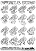 Printable or online colorable Skylanders Swap Force coloring page with all 16 combinations of Skylanders made with the RUBBLE upper part. The skylanders coloring figures are relatively small - but there are 16 different on this coloring page. Print and color this Skylanders Swap Force RUBBLE SWAP coloring print page that is drawn and made available by Loke Hansen (http://www.LokeHansen.com) based on the original artwork of the Skylanders characters from the Skylanders Swap Force website. The Skylanders combinations show here for coloring are: RUBBLE ZONE, RUBBLE JET, RUBBLE STONE, RUBBLE KRAKEN, RUBBLE RANGER, RUBBLE BLADE, RUBBLE DRILLA, RUBBLE LOOP, RUBBLE CHARGE, RUBBLE SHIFT, RUBBLE SHAKE, RUBBLE ROUSER, RUBBLE RISE, RUBBLE BOMB, RUBBLE SHADOW and RUBBLE BUCKLER.