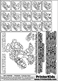 Printable Skylanders Swap Force coloring page for kids with all 16 combinations of Skylanders made with the RUBBLE upper part. Most of the skylanders coloring figures are relatively small - but the printable colouring sheet is really fun nonetheless. Print and color this Skylanders Swap Force MASTERS RUBBLE SWAP coloring print page that is drawn and made available by Loke Hansen (http://www.LokeHansen.com) based on the original artwork of the Skylanders characters from the Skylanders Swap Force website. This coloring page variant was originally designed as a coloring page section teaser for the PrinterKids website - but my own kids just loved it so much I turned it into a coloring page others could print as well! The Skylanders combinations show here for coloring are: RUBBLE ZONE, RUBBLE JET, RUBBLE STONE, RUBBLE KRAKEN, RUBBLE RANGER, RUBBLE BLADE, RUBBLE DRILLA, RUBBLE LOOP, RUBBLE CHARGE, RUBBLE SHIFT, RUBBLE SHAKE, RUBBLE ROUSER, RUBBLE RISE, RUBBLE BOMB, RUBBLE SHADOW and RUBBLE BUCKLER.