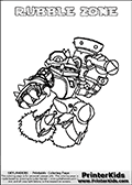 Printable colouring page with RUBBLE ZONE from Skylanders Swap Force. This  coloring page show the Skylanders Swap Force figure combination RUBBLE ZONE, that is drawn with the upper part of the RUBBLE ROUSER Skylander and the lower part of the BLAST ZONE Skylander. In this coloring page, the RUBBLE ZONE skylander can be colored in full - as one complete character. The printable coloring sheet also include a colorable text name. Print and color this Skylanders Swap Force RUBBLE ZONE sheet that is drawn by Loke Hansen (http://www.LokeHansen.com) based on the original artwork of the Skylanders characters from the Skylanders Swap Force website.