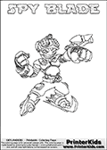 This printable coloring page for Skylanders Swap Force fans  show SPY BLADE - a combination Skylander figure. The Skylander cannot be bought as it is, it must be made by combining parts from other Skylanders Swap Force characters! SPY BLADE is drawn with the upper part of the SPY RISE Skylander and the lower part of the FREEZE BLADE Skylander. In this coloring page, the SPY BLADE skylander can be colored in full - as one complete character (you can also color it online). The colouring page also has a colorable text with the SPY BLADE letters above the Skylander. Print and color this Skylanders Swap Force SPY BLADE sheet that is drawn by Loke Hansen (http://www.LokeHansen.com) based on the original artwork of the Skylanders characters from the Skylanders Swap Force website.