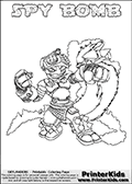 This printable coloring page for Skylanders Swap Force fans  show SPY BOMB - a combination Skylander figure. The Skylander cannot be bought as it is, it must be made by combining parts from other Skylanders Swap Force characters! SPY BOMB is drawn with the upper part of the SPY RISE Skylander and the lower part of the STINK BOMB Skylander. In this coloring page, the SPY BOMB skylander can be colored in full - as one complete character (you can also color it online). The colouring page also has a colorable text with the SPY BOMB letters above the Skylander. Print and color this Skylanders Swap Force SPY BOMB sheet that is drawn by Loke Hansen (http://www.LokeHansen.com) based on the original artwork of the Skylanders characters from the Skylanders Swap Force website.