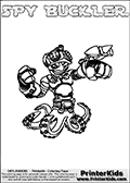 This printable coloring page for Skylanders Swap Force fans  show SPY BUCKLER - a combination Skylander figure. The Skylander cannot be bought as it is, it must be made by combining parts from other Skylanders Swap Force characters! SPY BUCKLER is drawn with the upper part of the SPY RISE Skylander and the lower part of the WASH BUCKLER Skylander. In this coloring page, the SPY BUCKLER skylander can be colored in full - as one complete character (you can also color it online). The colouring page also has a colorable text with the SPY BUCKLER letters above the Skylander. Print and color this Skylanders Swap Force SPY BUCKLER sheet that is drawn by Loke Hansen (http://www.LokeHansen.com) based on the original artwork of the Skylanders characters from the Skylanders Swap Force website.