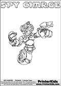 This printable coloring page for Skylanders Swap Force fans  show SPY CHARGE - a combination Skylander figure. The Skylander cannot be bought as it is, it must be made by combining parts from other Skylanders Swap Force characters! SPY CHARGE is drawn with the upper part of the SPY RISE Skylander and the lower part of the MAGNA CHARGE Skylander. In this coloring page, the SPY CHARGE skylander can be colored in full - as one complete character (you can also color it online). The colouring page also has a colorable text with the SPY CHARGE letters above the Skylander. Print and color this Skylanders Swap Force SPY CHARGE sheet that is drawn by Loke Hansen (http://www.LokeHansen.com) based on the original artwork of the Skylanders characters from the Skylanders Swap Force website.
