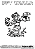 This printable coloring page for Skylanders Swap Force fans  show SPY DRILLA - a combination Skylander figure. The Skylander cannot be bought as it is, it must be made by combining parts from other Skylanders Swap Force characters! SPY DRILLA is drawn with the upper part of the SPY RISE Skylander and the lower part of the GRILLA DRILLA Skylander. In this coloring page, the SPY DRILLA skylander can be colored in full - as one complete character (you can also color it online). The colouring page also has a colorable text with the SPY DRILLA letters above the Skylander. Print and color this Skylanders Swap Force SPY DRILLA sheet that is drawn by Loke Hansen (http://www.LokeHansen.com) based on the original artwork of the Skylanders characters from the Skylanders Swap Force website.