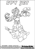 This printable coloring page for Skylanders Swap Force fans  show SPY JET - a combination Skylander figure - and whats more awesome than a Spy flying on a huge rocket? This Skylander cannot be bought as it is, it must be made by combining parts from other Skylanders Swap Force characters! SPY JET is drawn with the upper part of the SPY RISE Skylander and the lower part of the BOOM JET Skylander. In this coloring page, the SPY JET skylander can be colored in full - as one complete character (you can also color it online). The colouring page also has a colorable text with the SPY JET letters above the Skylander. Print and color this Skylanders Swap Force SPY JET sheet that is drawn by Loke Hansen (http://www.LokeHansen.com) based on the original artwork of the Skylanders characters from the Skylanders Swap Force website.