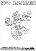 This printable coloring page for Skylanders Swap Force fans  show SPY KRAKEN - a combination Skylander figure. The Skylander cannot be bought as it is, it must be made by combining parts from other Skylanders Swap Force characters! SPY KRAKEN is drawn with the upper part of the SPY RISE Skylander and the lower part of the FIRE KRAKEN Skylander. In this coloring page, the SPY KRAKEN skylander can be colored in full - as one complete character (you can also color it online). The colouring page also has a colorable text with the SPY KRAKEN letters above the Skylander. Print and color this Skylanders Swap Force SPY KRAKEN sheet that is drawn by Loke Hansen (http://www.LokeHansen.com) based on the original artwork of the Skylanders characters from the Skylanders Swap Force website.