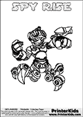 Coloring page with SPY RISE from the 2013 Skylanders game called Skylanders Swap Force. The Skylanders Swap Force universe offer new unique characters that can be combined into even more characters. The Skylanders character in this coloring print - SPY RISE is a standard character and has no parts from other Skylanders characters. It can however replace either the upper or lower body with that of another Skylanders character. This coloring page for printing show the Skylander in full. Print and color this Skylanders Swap Force SPY RISE page that is drawn by Loke Hansen (http://www.LokeHansen.com) based on the original artwork of the Skylanders characters.