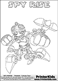 Printable or online colorable Skylanders Swap Force coloring page with the original swappable character SPY RISE. SPY RISE is a Skylander that can be bought and combined with other swappable Skylanders - the two parts SPY and RISE are in the same figure box! The colouring page is drawn with a super thin line and has a colorable text with the SPY RISE letters. Print and color this Skylanders Swap Force SPY RISE coloring print page that is drawn and made available by Loke Hansen (http://www.LokeHansen.com) based on the original artwork of the Skylanders characters from the Skylanders Swap Force website. This coloring page variant has the highest amount of detail areas due to the thin drawing line used. Be sure to check the two other variants of this coloring page for more stroke (the line used to draw the SPY RISE with) options.