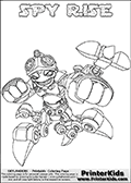 Printable or online colorable Skylanders Swap Force coloring page with the original swappable character SPY RISE. SPY RISE is a Skylander that can be bought and combined with other swappable Skylanders - the two parts SPY and RISE are in the same figure box! The colouring page is drawn with a super thin line that has a shadow applied to it. This make the stroke easier to see while maintaining the majority of the colorable areas. The printable coloring page also have the skylander name as colorable text. Print and color this Skylanders Swap Force SPY RISE coloring print page that is drawn and made available by Loke Hansen (http://www.LokeHansen.com) based on the original artwork of the Skylanders characters from the Skylanders Swap Force website.
