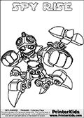 Printable or online colorable Skylanders Swap Force coloring page with the original swappable character SPY RISE. SPY RISE is a Skylander that can be bought and combined with other swappable Skylanders - the two parts SPY and RISE are in the same figure box! The colouring page is drawn with a thick line. This make the coloring page ideal for the youngest fans. The printable coloring page also have the skylander name as colorable text. Print and color this Skylanders Swap Force SPY RISE coloring print page that is drawn and made available by Loke Hansen (http://www.LokeHansen.com) based on the original artwork of the Skylanders characters from the Skylanders Swap Force website.