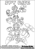 Printable or online colorable Skylanders Swap Force coloring page with two colorable variants of the original swappable character SPY RISE. SPY RISE is a Skylander that can be bought and combined with other swappable Skylanders - the two parts SPY and RISE are in the same figure box! The colouring page is drawn with a super thin line and has a colorable text with the SPY RISE letters. Print and color this Skylanders Swap Force SPY RISE coloring print page that is drawn and made available by Loke Hansen (http://www.LokeHansen.com) based on the original artwork of the Skylanders characters from the Skylanders Swap Force website. This coloring page variant has the highest amount of detail areas due to the thin drawing line used. Be sure to check the two other variants of this coloring page for more stroke (the line used to draw the SPY RISE with) options.