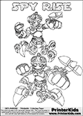 Printable or online colorable Skylanders Swap Force coloring page with two colorable variants of  the original swappable character SPY RISE. SPY RISE is a Skylander that can be bought and combined with other swappable Skylanders - the two parts SPY and RISE are in the same figure box! The colouring page is drawn with a super thin line that has a shadow applied to it. This make the stroke easier to see while maintaining the majority of the colorable areas. The printable coloring page also have the skylander name as colorable text. Print and color this Skylanders Swap Force SPY RISE coloring print page that is drawn and made available by Loke Hansen (http://www.LokeHansen.com) based on the original artwork of the Skylanders characters from the Skylanders Swap Force website.