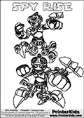 Printable or online colorable Skylanders Swap Force coloring page with two colorable variants of  the original swappable character SPY RISE. SPY RISE is a Skylander that can be bought and combined with other swappable Skylanders - the two parts SPY and RISE are in the same figure box! The colouring page is drawn with a thick line. This make the coloring page ideal for the youngest fans. The printable coloring page also have the skylander name as colorable text. Print and color this Skylanders Swap Force SPY RISE coloring print page that is drawn and made available by Loke Hansen (http://www.LokeHansen.com) based on the original artwork of the Skylanders characters from the Skylanders Swap Force website.