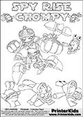 Printable or online colorable Skylanders Swap Force coloring page with the original swappable character SPY RISE and 6 Chompy figures (chompies that can be colored). Chompies are somewhat easy opponents players face in the different Skylanders games. SPY RISE is a Skylander that can be bought and combined with other swappable Skylanders - the two parts SPY and RISE are in the same figure box! The colouring page is drawn with a super thin line and has a colorable text with the SPY RISE and CHOMPY letters. Print and color this Skylanders Swap Force SPY RISE coloring print page that is drawn and made available by Loke Hansen (http://www.LokeHansen.com) based on the original artwork of the Skylanders characters from the Skylanders Swap Force website. This coloring page variant has the highest amount of detail areas due to the thin drawing line used. Be sure to check the two other variants of this coloring page for more stroke (the line used to draw the SPY RISE with) options.